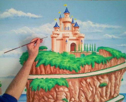 fairytale castle mural for kids bedroom